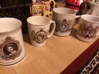 Collection of royal commemorative mugs