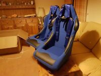 PAIR OF BLUE BUCKET CAR SEATS + RACING HARNESSES