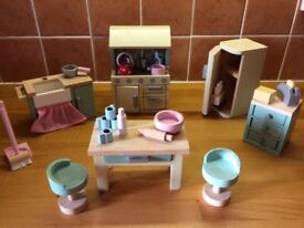 KITCHEN SET: Le Toy Van Daisy Lane wooden furniture for doll's house: KITCHEN SET