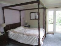 Large Ornate Hardwood 4 Poster Bed Frame
