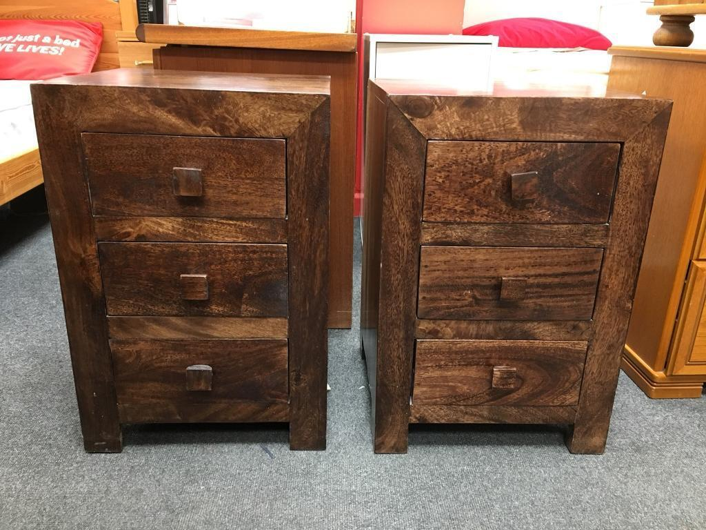 d90133059e78 BHF Pair Of 2 Solid Dark Wood Bedside Cabinets
