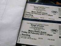 2 Standing kings of leon tickets for Newcastles Metro Radio Arena