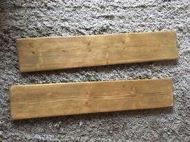 2 Reclaimed wood, handmade, rustic, waxed, wooden shelves