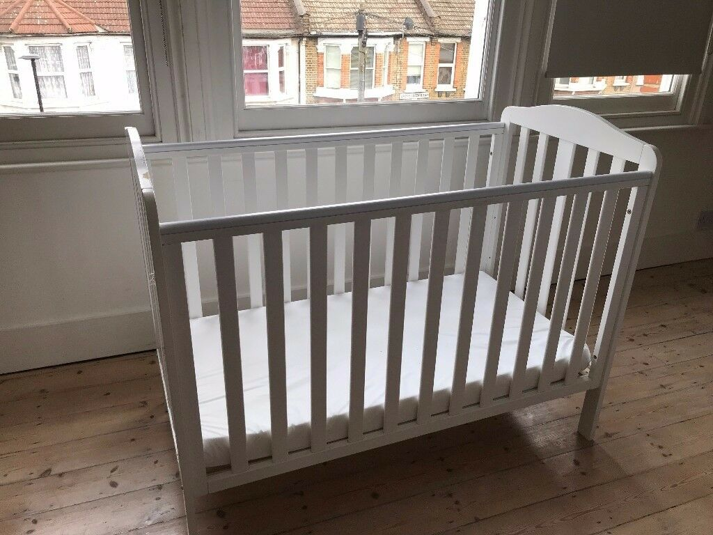 White John Lewis Cot Bed and Mattress