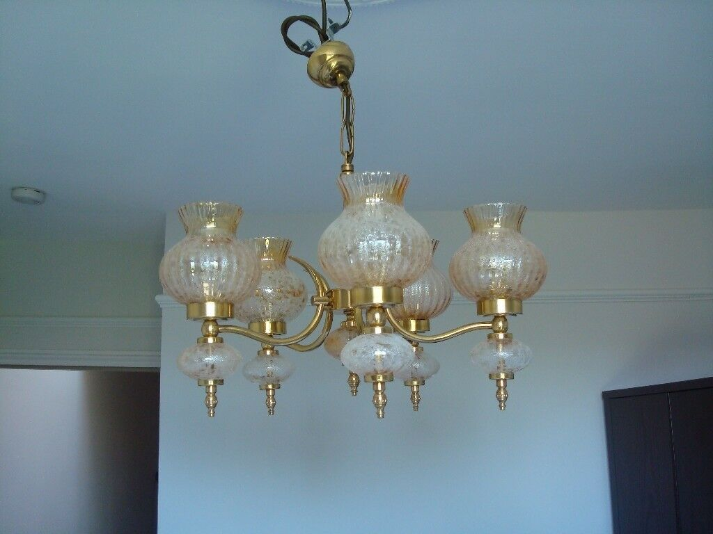 Brass Antique Style Victorian Amber Tulip Shades Set Of Chandeliers