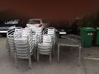 4 metal outdoor tables and 38 metal chairs set