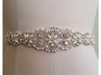 US SHIPPING Wedding Dress Sash Belt - Crystal Pearl Sash Belt = 12 INCH LONG