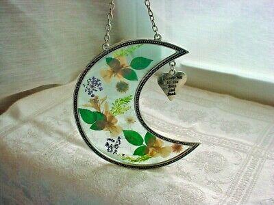 Pressed Flowers Crescent Moon Suncatcher I Love You Charm