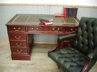 Stunning Leather Inlay Desk and Green leather Chesterfield Captains Chair.