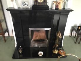"54"" Black Granite Fireplace"