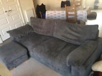 Sofology Coco four seater sofa/settee , jumbo swivel chair and storage footstool in jumbo grey.