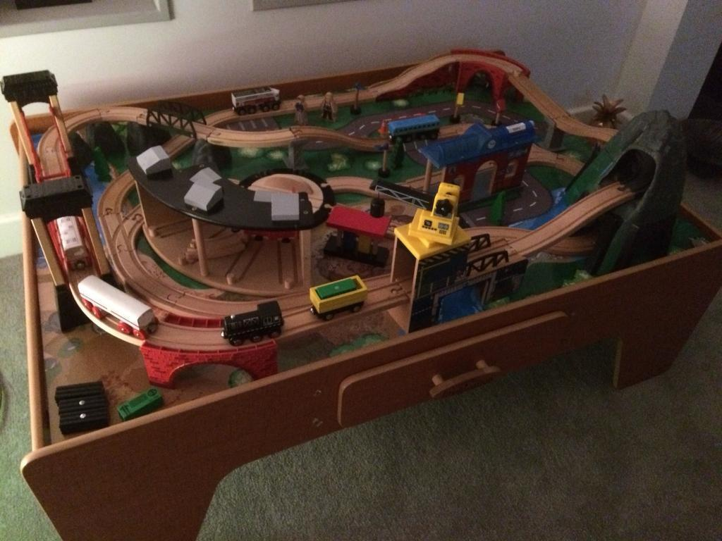 Mountain rock toy train table
