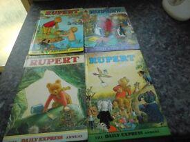 4 RUPERT BOOKS GOOD CONDITION £20 THE LOT !
