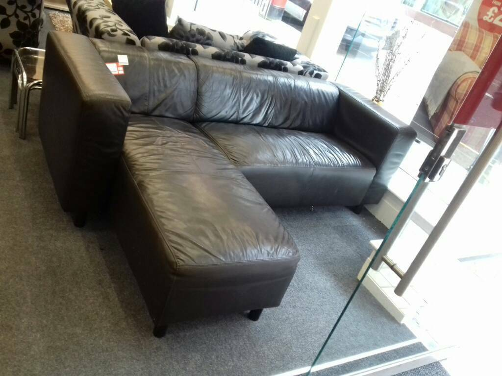 Brown Leather Corner Sofa At Bhf Glasgow In Glasgow City