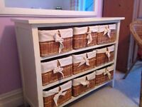 Cotswold solid wood wicker drawer storage unit