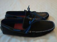 BRAND NEW DARK BLUE LEATHER BOATING LOAFERS / LEATHER LACE TIE-UPS / SIZE UK 10 / NEW £75 / PERFECT!