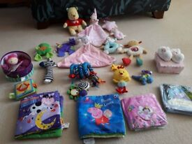 Soft toys and books baby toddler