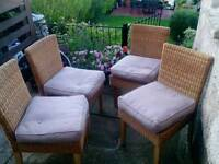 Wicker chairs and cushions.