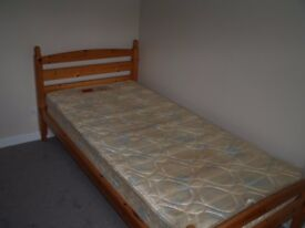 Single Pine Framed Bed and Mattress