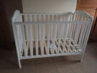 White Mothercare Cot from Smoke & Pet-Free Home, Brand New Condition £25
