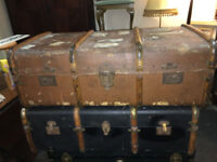 Rustic Pair of Large Vintage Steamer Shipping Trunks Wooden Banded Coffee Tables