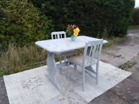Lovely Small Desk/Kitchen/Dining Table & 2 Chairs. Blue & Grey, Shabby Chic.
