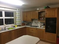 Kitchen units mahogany full set of kitchen units high and low plus work tops sink integrated fan