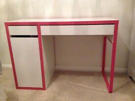 Ikea Micke Desk (pink trim)