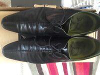 mens / boys next black leather shoes