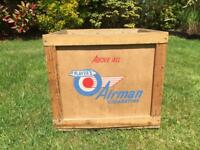 Antique original players Airman cigarettes wood crate box advertising rare vintage display item