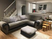 Grey corner sofa & foot stool
