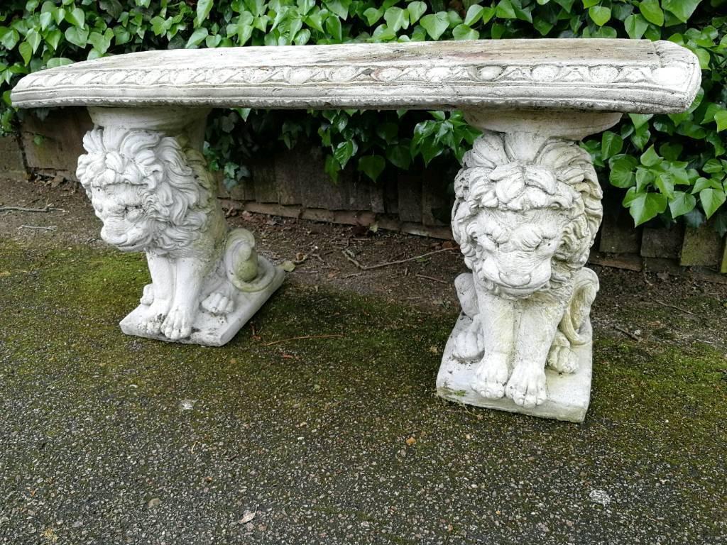 Concrete garden lion bench
