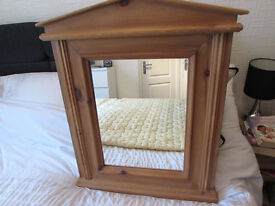 USED PINE FRAMED MIRROR IN GOOD CONDITION