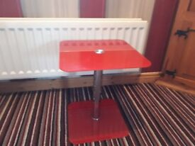 Red side table or lamp table.