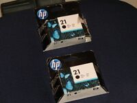 2 brand new ink cartridges for sale, (hp brand no 21, black.