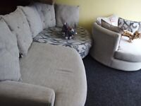 Neww dfs grey corner sofa free swivel chair stunning quality bargain