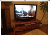 """50"""" TV for sale a bargain at £180 ( The solid wood stand is £120 )"""