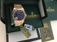 New Swiss Audemars Piguet Royal Oak Rose gold Blue Dial Automatic Watch, See Through back