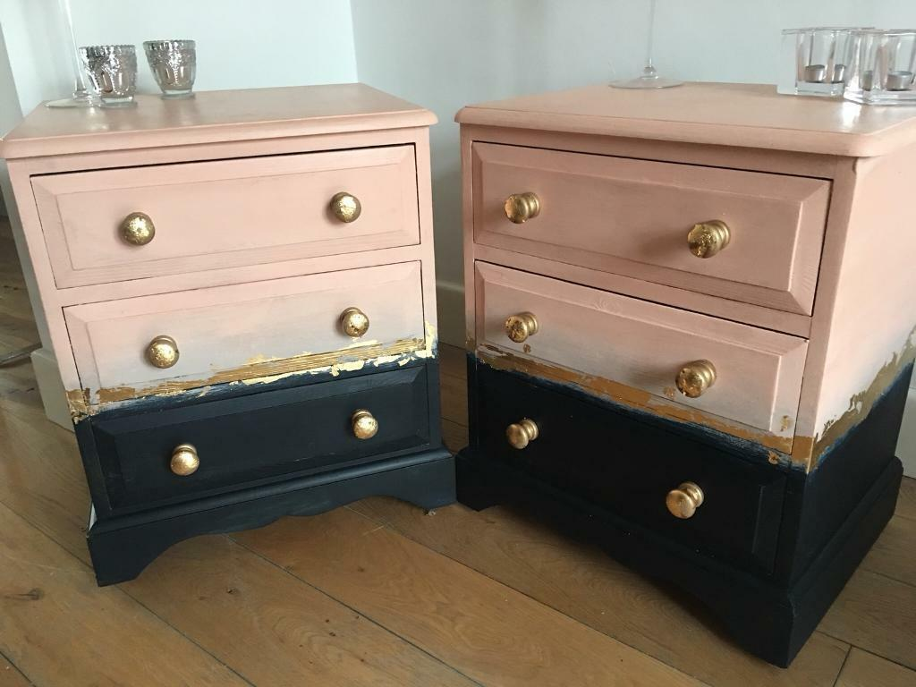 Blue Primo Rose Gold Chest Of Drawers Bedside Tables Lamp Sofa Side Ombré Effect Cabinets Cupboard