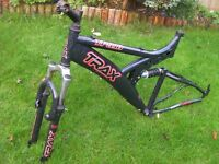 """Trax TFS.10 Black Front and Rear suspension 19"""" Mountain bike Frame (for 26"""" wheel with Disc Brakes)"""