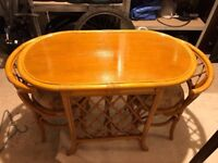 Cane breakfast set - table and 2 chairs