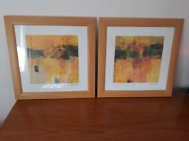 Pair of Abstract framed prints.