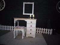 SOLID PINE FARMHOUSE DRESSING TABLE WITH STOOL BEAUTIFUL SET PAINTED WITH LAURA ASHLEY PALE DOVE