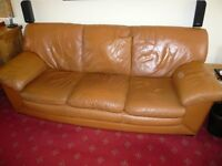 Three piece suite quality leather tan
