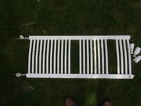 white metal towel radiator with fittings- 3 ft long