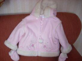 Age 3-6 months Pink Hooded Jacket & Gloves Set