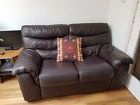 2 x 2 seater DFS dark brown leather sofas