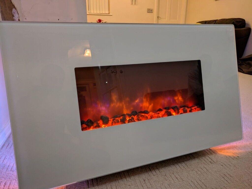 Be Modern Cortona White Led Remote Control Electric Fire In