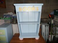Small bookcase painted blue ideal for child's bedroom