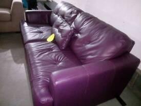 Stunning 3 seater purple leather sofa